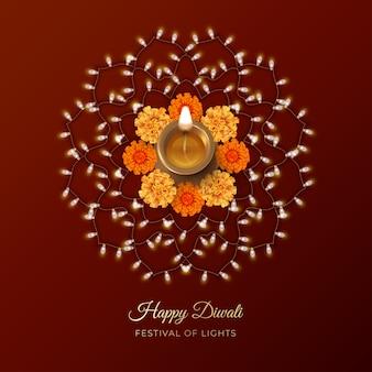 Tarjeta del festival de diwali con lámpara diya, flores y adorno rangoli formado por guirnalda de bombillas
