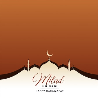 Tarjeta del festival eid milad un nabi con mezquita