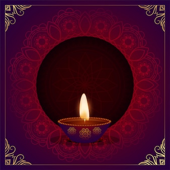 Tarjeta del festival étnico decorativo feliz diwali diya