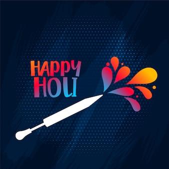 Tarjeta del festival holi feliz con salpicaduras de color