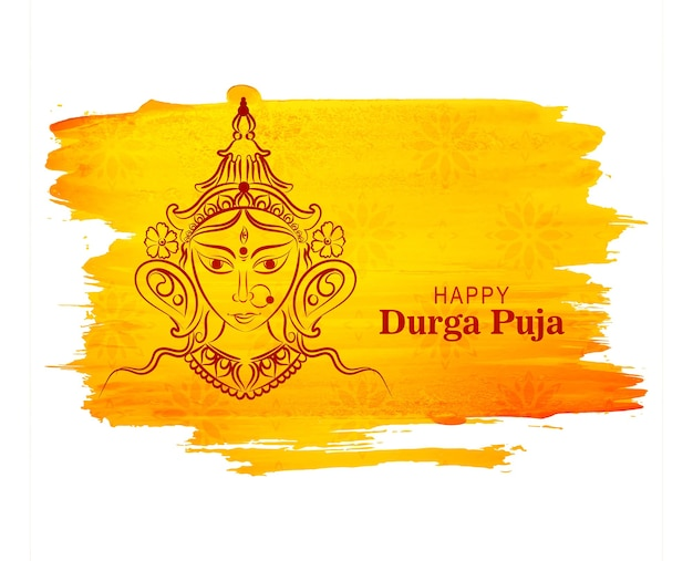 Tarjeta del festival indio feliz durga pooja