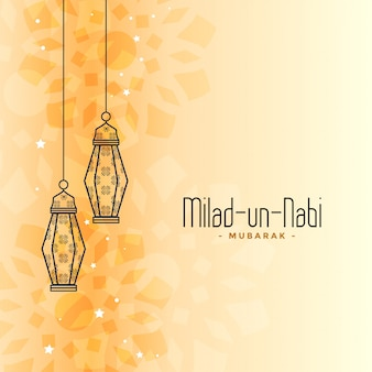 Tarjeta del festival islámico eid milad un nabi