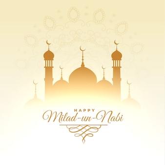 Tarjeta del festival islámico milad un nabi con diseño de mezquita