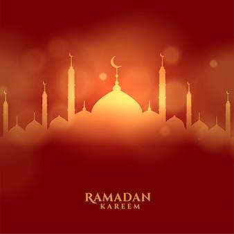 Tarjeta del festival islámico ramadán kareem con mezquita brillante