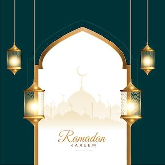 Tarjeta del festival de ramadan kareem con decoración de linterna