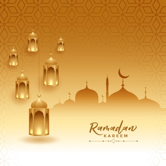 Tarjeta del festival ramadán kareem con mezquita y lámparas