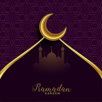 Tarjeta del festival ramadán mubarak con luna dorada