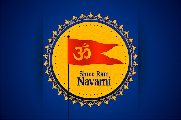 Tarjeta del festival shree ram navami con la bandera del símbolo om