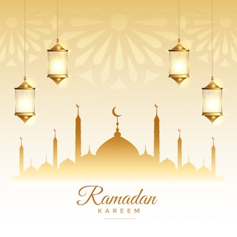 Tarjeta de festival de la temporada islámica de ramadán kareem
