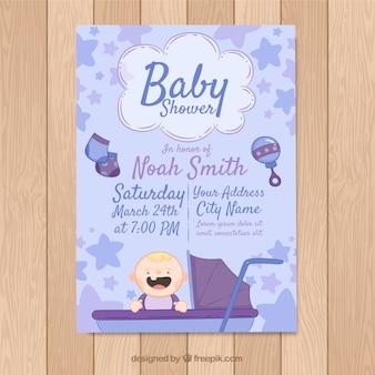 Tarjeta de fiesta del bebé en estilo hecho a mano