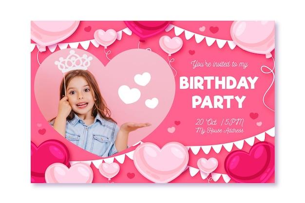 Tarjeta de fiesta de cumpleaños con foto
