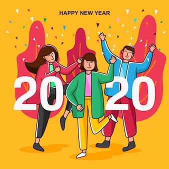 Tarjeta de fiesta feliz año nuevo 2020