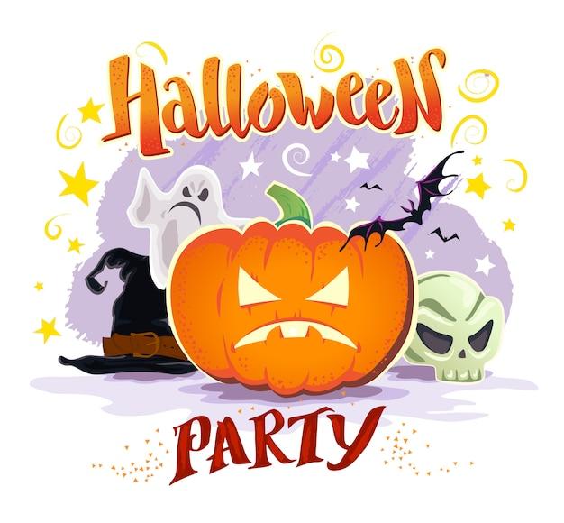 Tarjeta de fiesta de halloween con sombrero de bruja, fantasma, calabaza, calavera, murciélago. ilustración vectorial