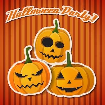 La tarjeta de la fiesta de halloween con tres calabazas locas naranjas tiene un estado de ánimo diferente.
