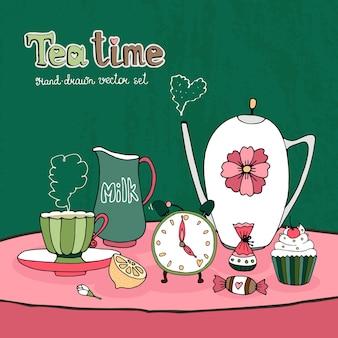 Tarjeta de fiesta de la hora del té o diseño de invitación con una tetera