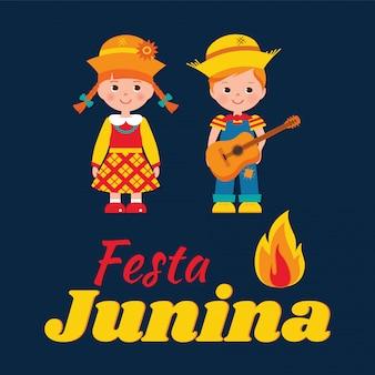 Tarjeta de fiesta junina con niño y niña.