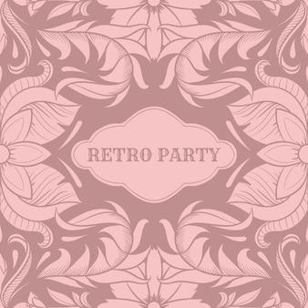 Tarjeta de fiesta retro, marco de estilo art deco de la década de 1920, adornos vintage, años veinte, ilustración