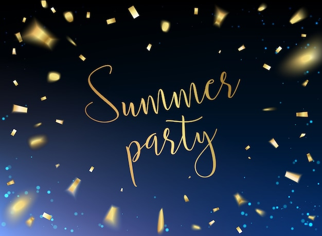 Tarjeta de fiesta de verano con confeti dorado sobre fondo negro.