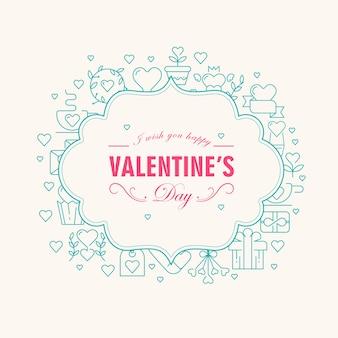 Tarjeta de filigrana decorativa del día de san valentín con deseos de ser feliz y muchos elementos como corazón, ramita, ilustración de regalo