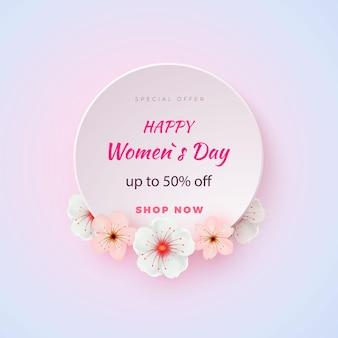 Tarjeta de flor abstracta en estilo de corte de papel, tarjeta de regalo. día internacional de la mujer. .