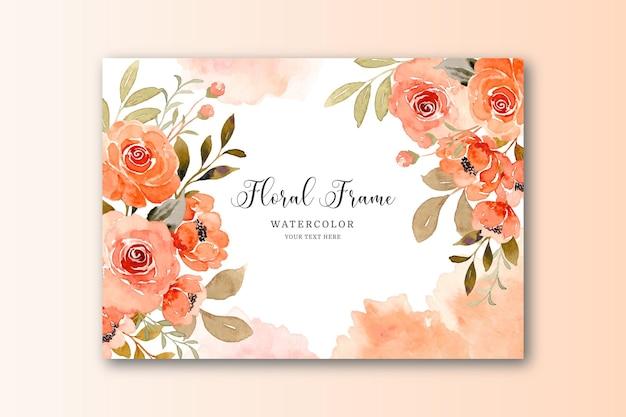 Tarjeta de flor rosa acuarela