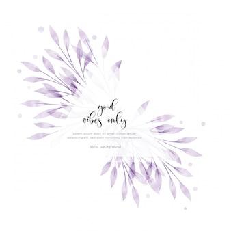 Tarjeta floral acuarela estilo bohemio