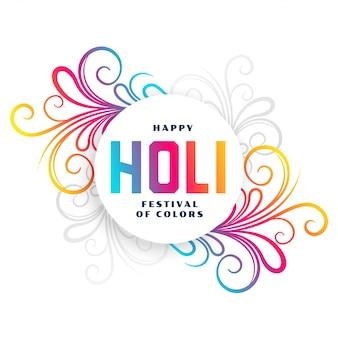 Tarjeta floral colorida del festival holi feliz