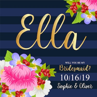 Tarjeta floral de dama de honor de boda