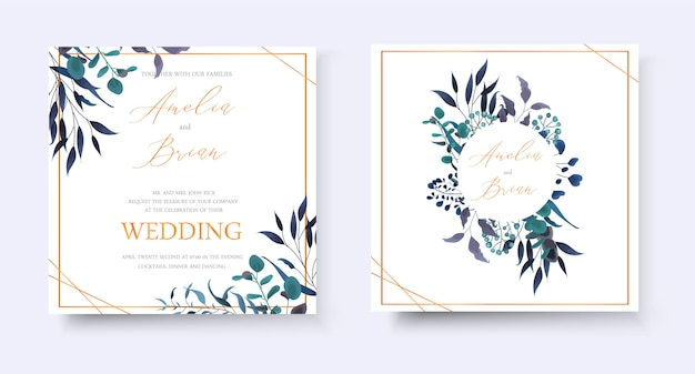 Tarjeta floral dorada de la invitación de la boda ahorre el diseño del rsvp de la fecha con la guirnalda y el marco tropicales del eucalipto de las hierbas de la hoja. estilo decorativo botánico elegante vector acuarela de estilo
