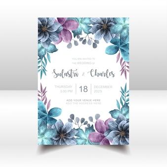 Tarjeta floral elegante de la invitación de la boda de la acuarela azul
