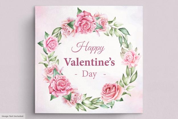 Tarjeta floral de la guirnalda de felicitación del día de san valentín