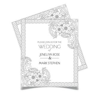 Tarjeta floral de la invitación de la boda