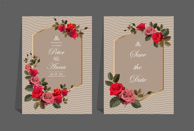 Tarjeta floral para invitaciones de boda y tarjetas de felicitación.