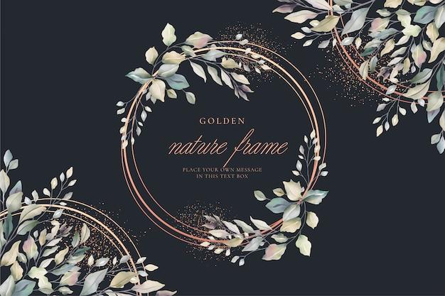 Tarjeta floral de lujo con marco dorado