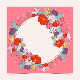 Tarjeta floral con marco circular