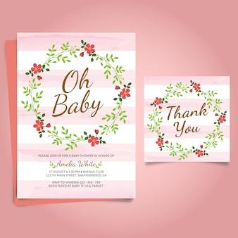 Tarjeta floral rosa para la fiesta del bebé