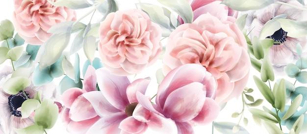 Tarjeta floral de rosas rosadas acuarela. cartel rústico provenzal