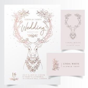 Tarjeta floral rústica de la invitación de la boda de la cornamenta