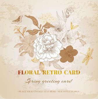 Tarjeta floral shabby chic