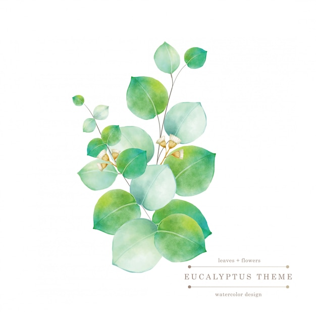 Tarjeta floral verde acuarela