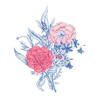 Tarjeta floral vintage con rosas y flores silvestres