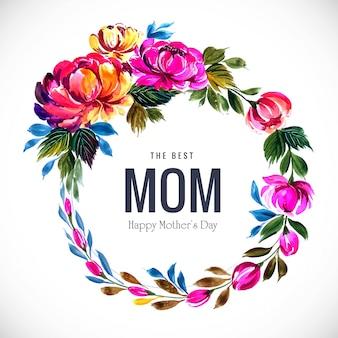 Tarjeta de flores decorativas marco hermoso día de las madres