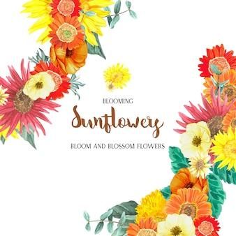 Tarjeta de flores frescas
