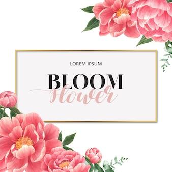 Tarjeta de flores de peonía acuarela