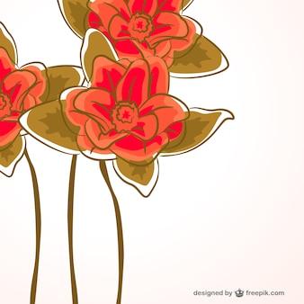 Tarjeta con flores rojas pintadas a mano