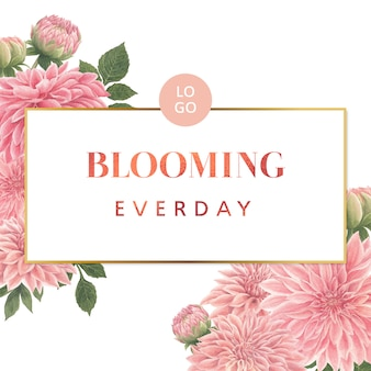 Tarjeta de flores rosa dalia acuarela