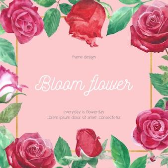 Tarjeta de flores rosas acuarela