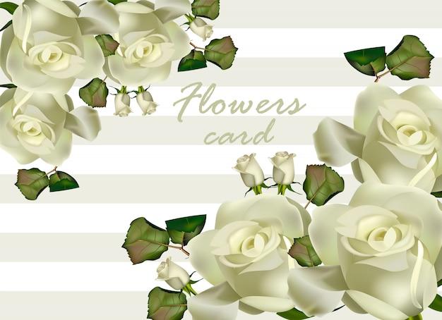 Tarjeta de flores de rosas blancas