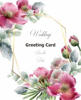 Tarjeta de flores de verano acuarela. invitación de boda, guarde la plantilla de la tarjeta de fecha