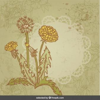 Tarjeta flores vintage